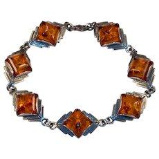 Natural Baltic Amber 925 Sterling Silver Bracelet Sugar Loaf Cut Amber
