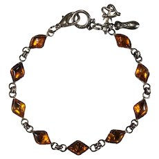 Natural Baltic Amber Bracelet Designer Charm 925 Sterling Silver Cabochon Amber Bracelet Anklet