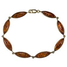 Natural Baltic Amber 14k Gold Link Tennis Bracelet