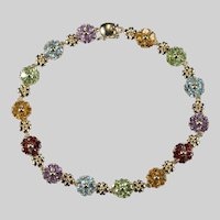 Gemstone Heart Flowers Tennis Bracelet 14k Gold Amethyst Topaz Peridot Garnet Citrine