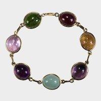 Mixed Gemstone Harlequin Bracelet 63ctw 14k Gold Topaz Aquamarine Amethyst Garnet Bezel Set Chain Link