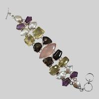 Genuine Amethyst Rose Lemon Smoky Quartz Baroque Pearl 925 Sterling 107ctw Mixed Gemstone Statement Bracelet
