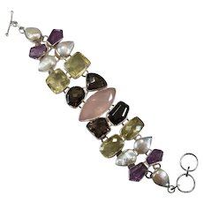 Genuine Amethyst Rose Lemon Smoky Quartz Baroque Pearl 925 Sterling 107ctw Mixed Gemstone Statement Bracelet