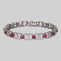 13ctw Emerald Cut Diamond Ruby Bracelet 14k Gold Infinity Knot Tennis