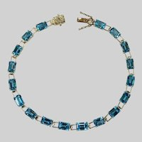 Emerald Cut Blue Topaz Bracelet 13.5ctw 10k Gold Link Tennis