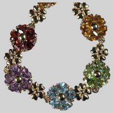 Heart Flowers Bracelet 14k Gold Mixed Gemstone Topaz Peridot Garnet Citrine Amethyst Tennis