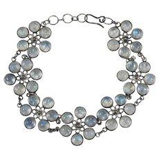 Natural Blue Moonstone Flowers Bracelet Moonstone Gemstone Chain Sterling Silver