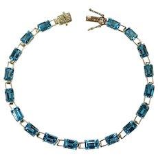 Emerald Cut Blue Topaz Bracelet 13.5ctw 10k Gold Link Tennis Bracelet