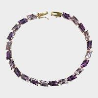 Fancy Cut Amethyst Bracelet 14ctw 14k Gold Multi Color Gemstone Tennis Bracelet