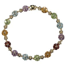 Heart Cut Mixed Gemstone Flower Bracelet 14k Gold Topaz Peridot Garnet Citrine Amethyst