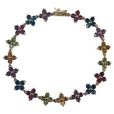 Mixed Gemstone Flowers Tennis Bracelet 14k Amethyst Topaz Garnet Citrine Peridot