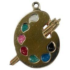 Multi Color Enamel Artist Pallet Paint Brushes 14k Gold Bracelet Charm