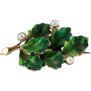 Enamel Oak Leaf Pearl Acorn Brooch 14k Gold Enamel Pearl Brooch Enamel Brooch