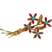 Red Enamel Turquoise Flower Brooch 18k Gold Turquoise Pendant