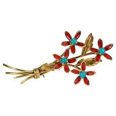Red Enamel Turquoise Flower Brooch 18k Gold Turquoise Pendant