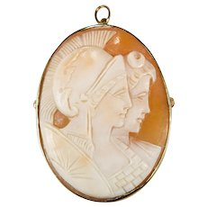 Day Night Carved Cameo 14k Gold Greek God Hand Carved Cameo Brooch Pin Pendant