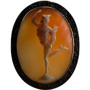 Antique Hermes Olympian Greek God Hand Crafted 10k Gold Cameo Brooch