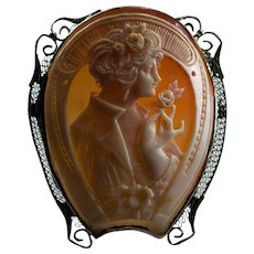 Art Deco Horseshoe Cameo Pendant 14k Gold Carved Lady Cameo Brooch Pin