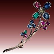 Old Euro Diamond Cushion Cut Emerald Ruby Sapphire Brooch 18k Gold Mixed Gemstone Flower Brooch