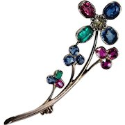 Old Euro Diamond Cushion Cut Emerald Ruby Sapphire Brooch 18k Gold Mixed Gemstone Flower Brooch