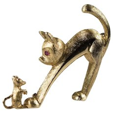 Krementz Ruby Cat Mouse Brooch 14k Gold Cat Kitty Pin