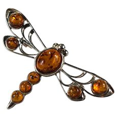 Natural Amber Dragonfly Brooch 925 Sterling Pin