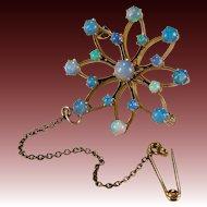 Antique Birks Opal Pendant 14k Gold Snowflake Brooch Lapel Pin