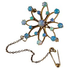 Antique Birks Opal Pendant 14k Gold Snowflake Brooch Lapel Pin