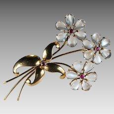 Natural Moonstone Ruby Flower Brooch 14k Gold WAB Wordley Allsopp Bliss