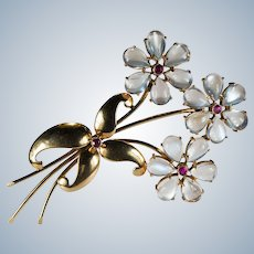 Natural Moonstone Ruby Flower Brooch 14k Gold WAB Wordley Allsopp Bliss