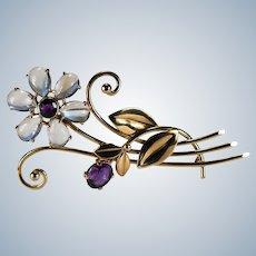 Natural Moonstone Amethyst Flower Brooch 14k Gold WAB Wordley Allsopp Bliss Art Deco