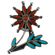 Old Pawn Turquoise Spiny Oyster Flower Brooch Sterling Silver Hand Crafted