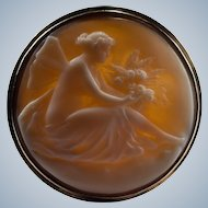 Victorian Winged Pixie Hand Carved Cameo Brooch 14k Rose Gold Antique Fairy Cameo Pendant