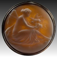 Victorian Winged Pixie Hand Carved Cameo Brooch 14k Rose Gold Antique Cameo Pendant