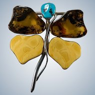 Natural Amber Turquoise Dragonfly Pendant Brooch 925 Sterling Silver 3.75""