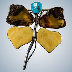 """Natural Amber Turquoise Dragonfly Pendant Brooch 925 Sterling Silver 3.75"""""""