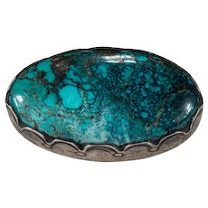 Navajo Signed Turquoise Brooch Sterling Silver Natural Spiderweb Turquoise Native American Lena Platero