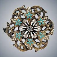 Antique Turquoise Enamel Pearl Old European Cut Diamond Brooch 14k Gold Watch Clip Pendant Flower