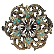 Antique Turquoise Enamel Pearl Old European Cut Diamond Brooch 14k Gold Watch Clip Pendant Flower