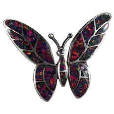 Opal Inlay Butterfly Brooch Sterling Silver 925 Lab Opal Vintage Brooch Pin