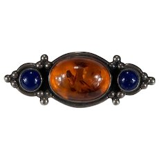 Natural Baltic Amber Lapis Sterling Silver Brooch