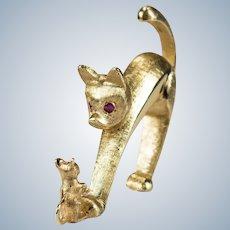 Krementz Ruby Cat Mouse Brooch 14k Gold Ruby Eye Kitty Pin