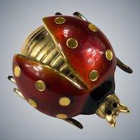 Guilloche Enamel Ladybug Brooch 18k Gold Open Wing Ladybug Scatter Pin