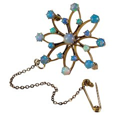 Antique Edwardian Natural Opal Snowflake 14k Signed Birks Lapel Chain Brooch Pendant