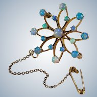 Natural Opal Snowflake 14k Signed Birks Lapel Chain Brooch Pendant