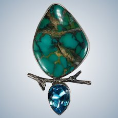 Pilot Mountain Turquoise Swiss Blue Topaz Sterling Silver Pendant Brooch Signed The Dreamer