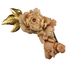 Antique Carved Coral Flower Basket 14k Gold Angel Skin Coral Peony Brooch