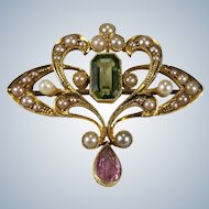 Authentic Suffragette Pendant Brooch 14k Gold Peridot Pearl Amethyst Antique