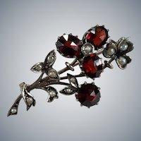 Antique Art Nouveau Rose Cut Bohemian Garnet Seed Pearl Sterling Clover Flower Brooch