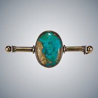 Antique Edwardian Natural Turquoise 14k Gold Brooch
